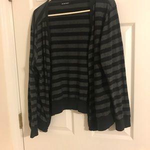 Sweaters - Black and Grey knit striped cardigan sz xl